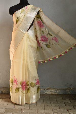 Pale yellow organza hand painted saree