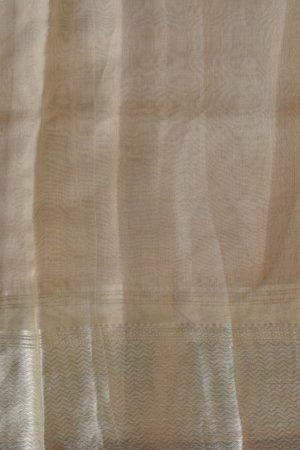 Pale yellow organza hand painted saree blouse