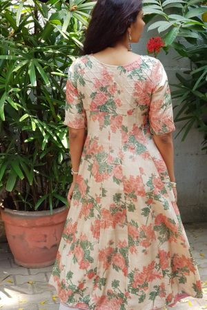 Peach beige floral printed tussar kalidar kurta back
