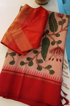 Peach kanchi silk saree with korvai red border kalamkari 1