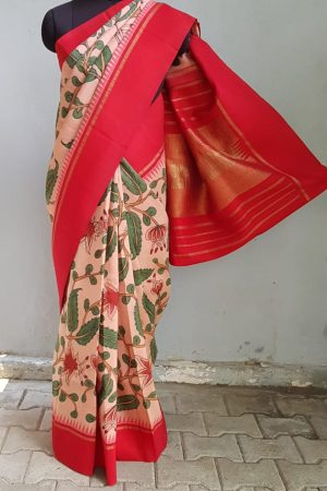 Peach kanchi silk saree with korvai red border kalamkari