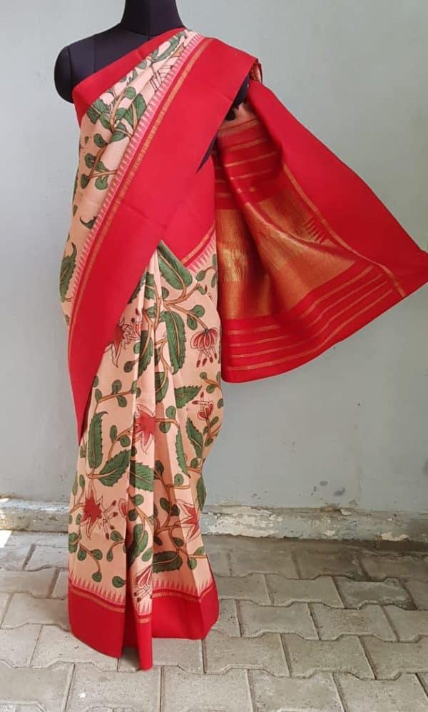 Peach kanchi silk saree with korvai red border kalamkari