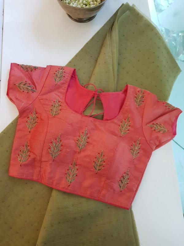 Peach raw silk butta embroidery blouse