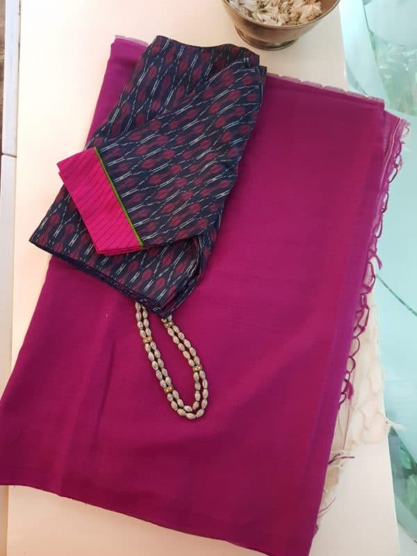 Pink and white half and half cotton saree