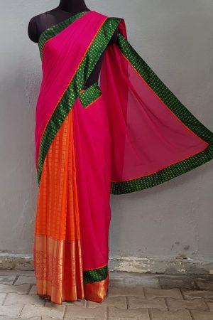 Pink chiffon with orange kanchi silk fusion saree