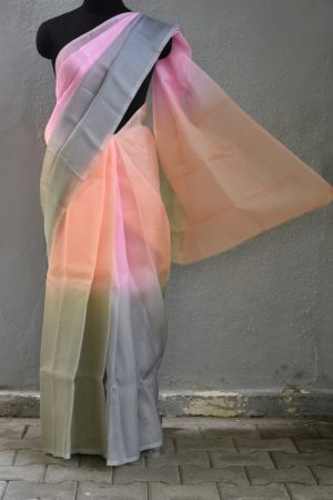 Pink grey shaded organza saree 1