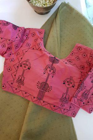 Pink worli design raw silk blouse