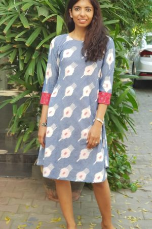 Powder blue ikat dress