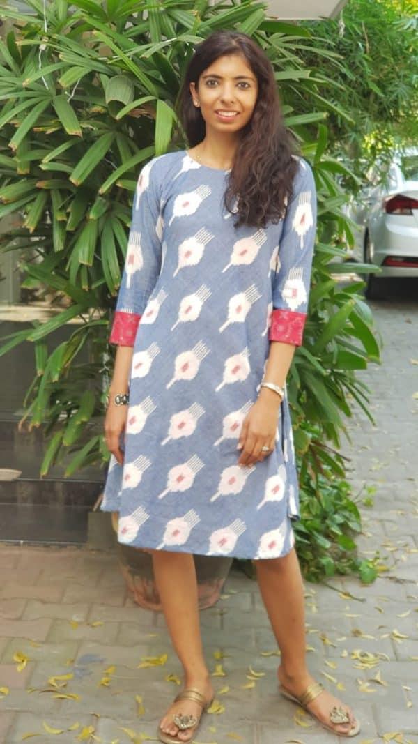 Powder blue ikat dress