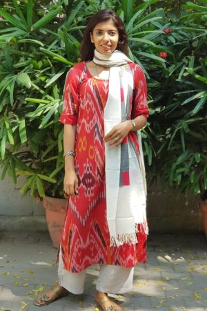 Red central asian ikat kurta with dupatta