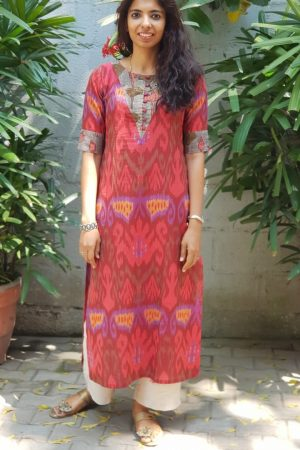 Red ikat kurta with kalamkari