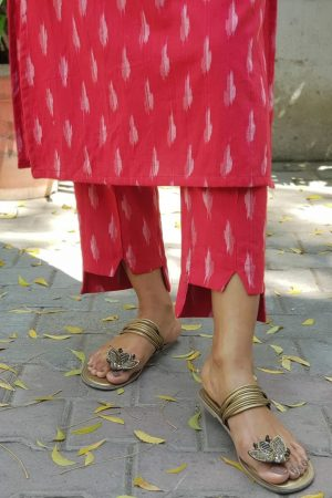 Red ikat pant suit detail