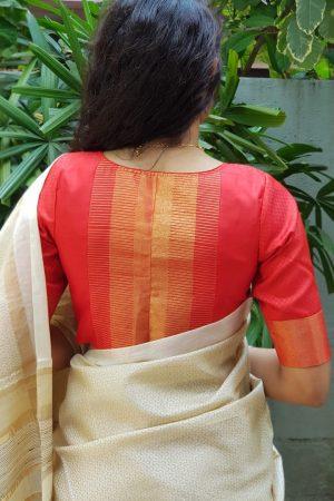 Red kanchi silk blouse back