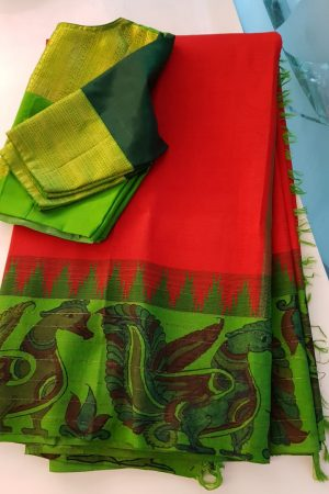 Red kanchi silk saree with green korvai kalamkari border 1