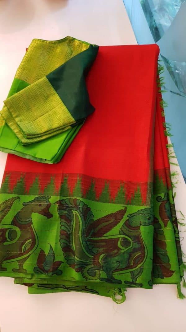 Red kanchi silk saree with green korvai kalamkari border 1