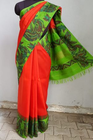 Red kanchi silk saree with green korvai kalamkari border