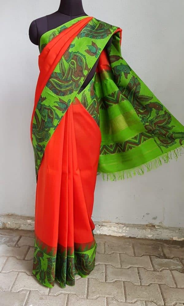 Red kanchi silk saree with green korvai kalamkari border