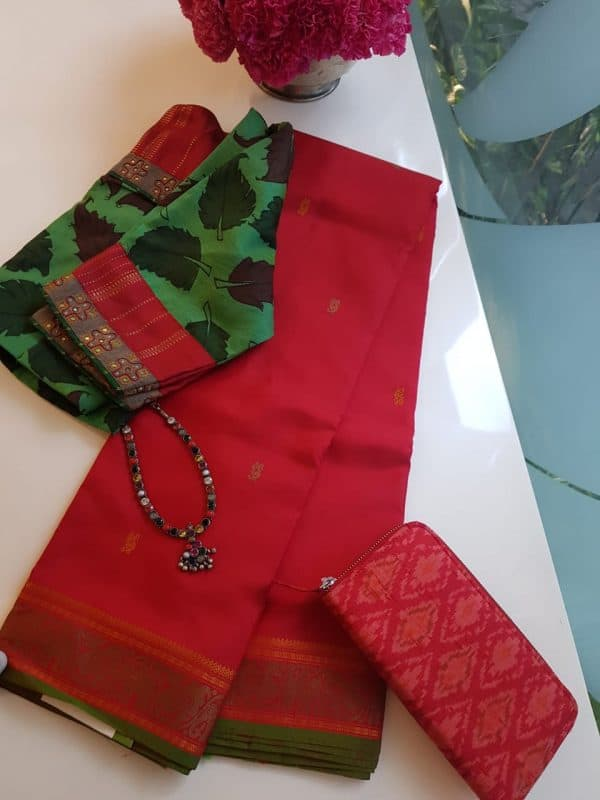 Red zero zari kanchi silk saree