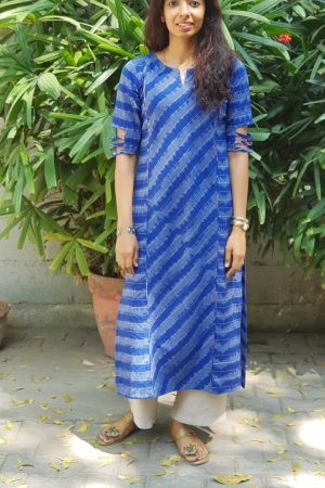 Royal blue ikat kurta 1