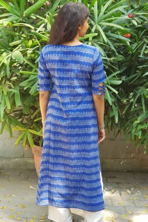 Royal blue ikat kurta