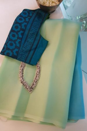 Sea green blue shaded organza saree 2
