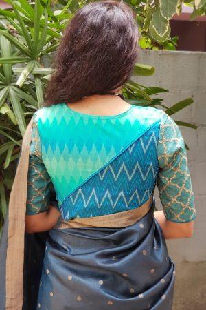 Teal blue ikat silk blouse