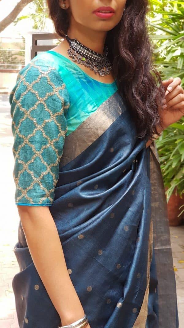 Teal blue ikat silk blouse detail