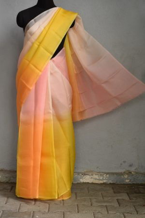Yellow orange shaded organza saree 1