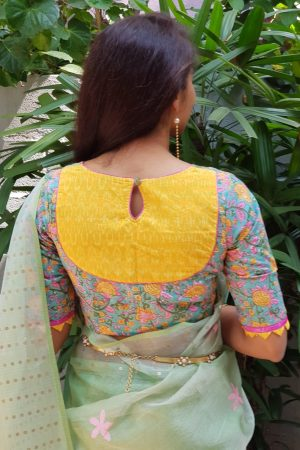 Yellow teal printed cotton blouse
