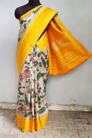 beige kalamkari silk saree with mustard korvai border 1
