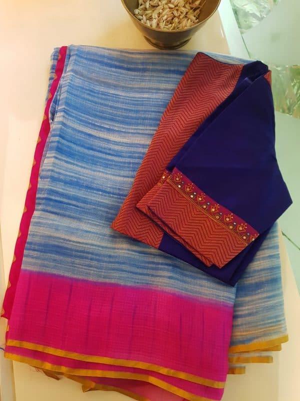 blue white tie n dye silk kota saree