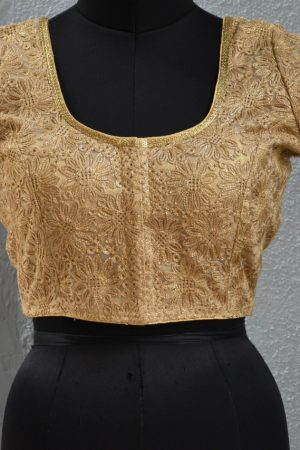 gold embroidered blouse front
