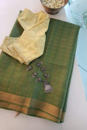 green handloom tussar saree