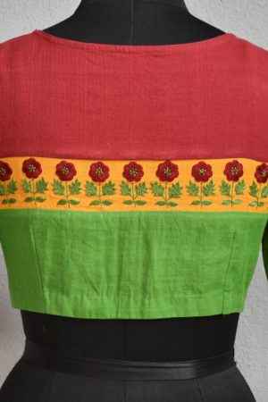 green red cotton blouse