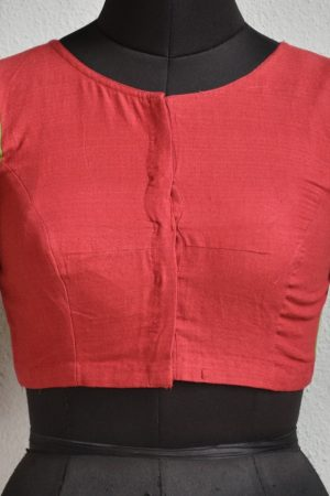 green red cotton blouse front