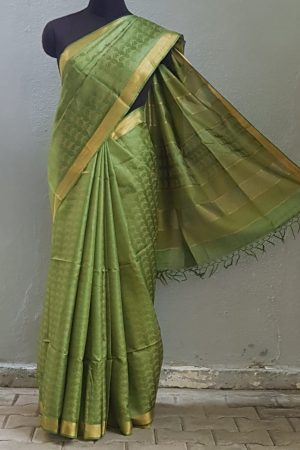 green tussar handloom saree