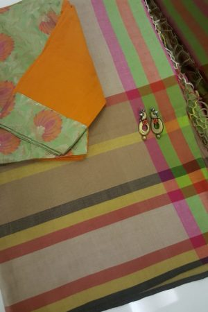 multicoloured checks handloom cotton saree
