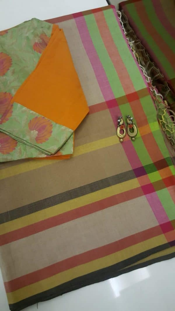 multicoloured checks handloom cotton saree