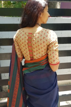 Beige embroidered tussar blouse