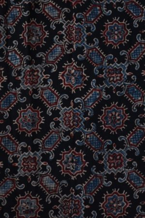 Black blue ajrakh printed cotton blouse piece