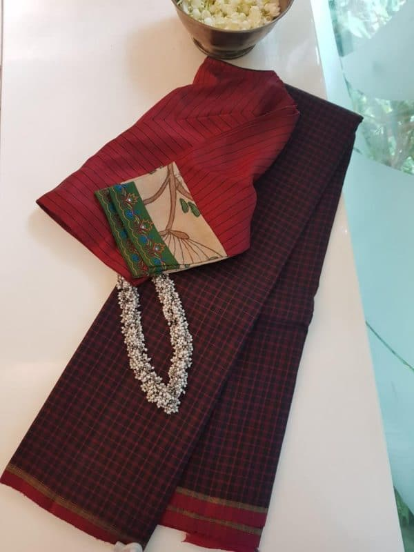 Black maroon thread checks kanchi silk saree 2