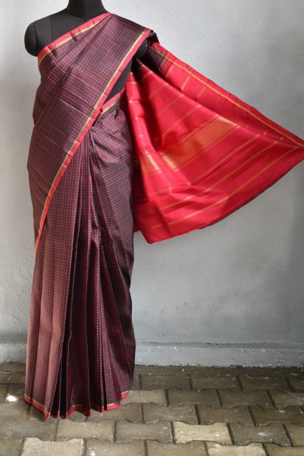 Black maroon thread checks kanchi silk saree