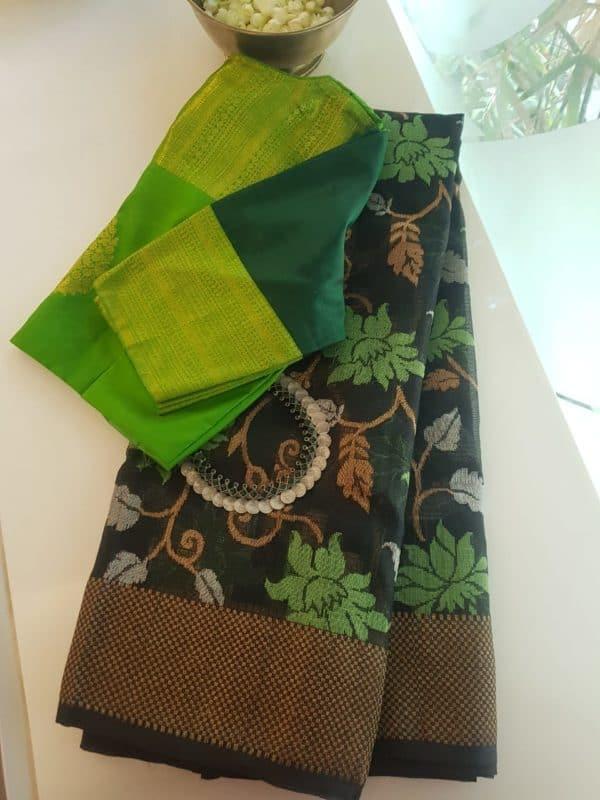 Black with green real zari kota saree