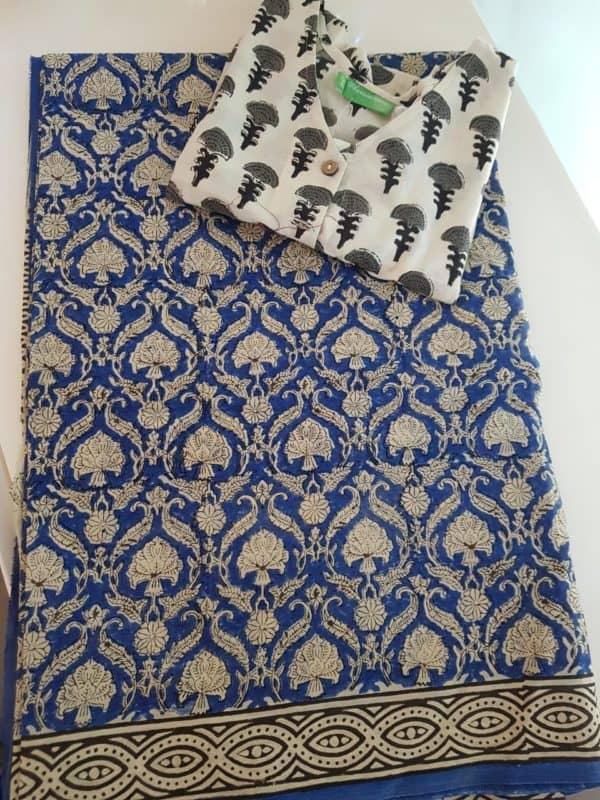 Blue beige block printed mul saree