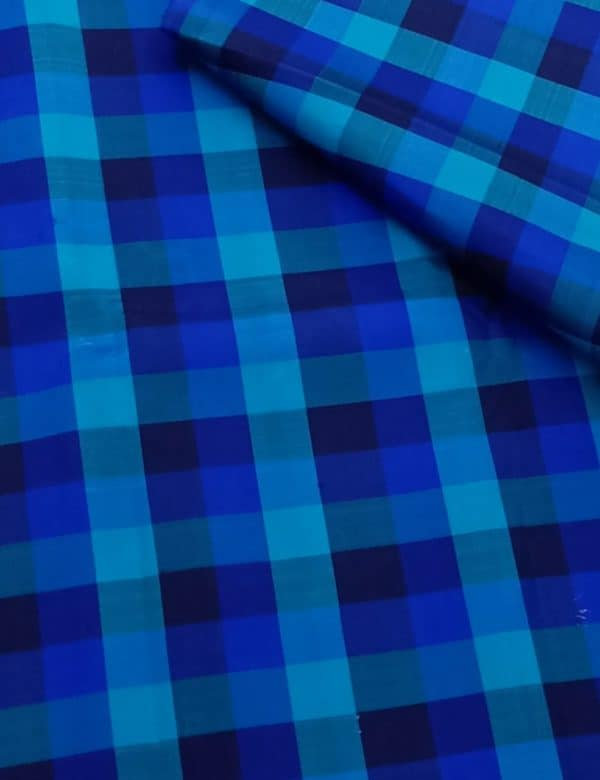 Blue checks kanchi silk fabric