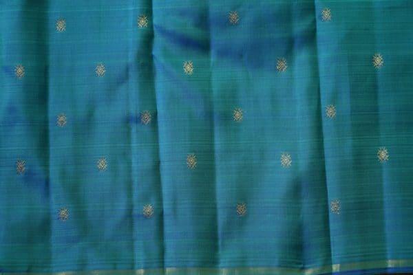 Blue green mat weave kanchi silk saree 1
