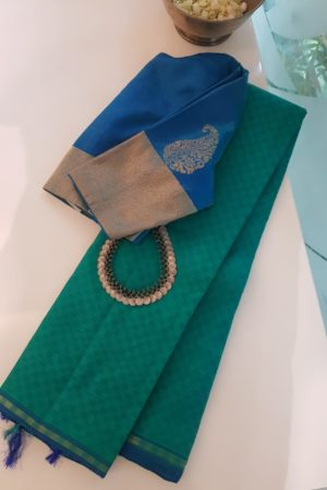 Blue green mat weave kanchi silk saree 2