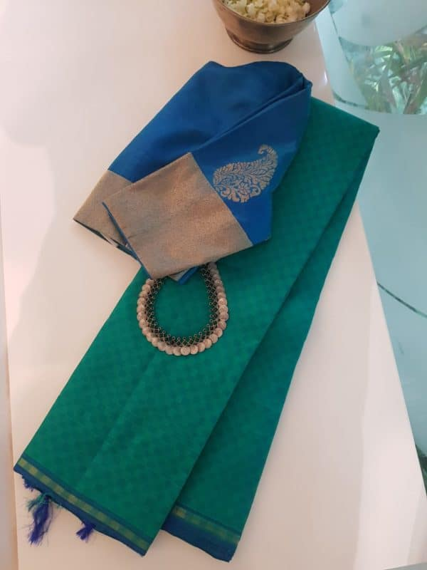 Blue green mat weave kanchi silk saree 2