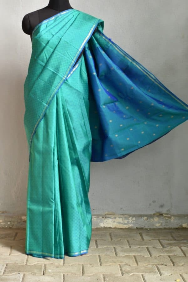 Blue green mat weave kanchi silk saree