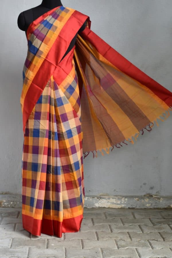 Blue red checks cotton saree with red silk border 1